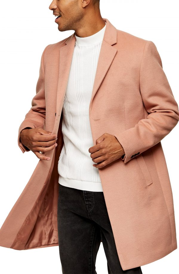 Men's Topman Justin Felt Topcoat, Size Small - Pink
