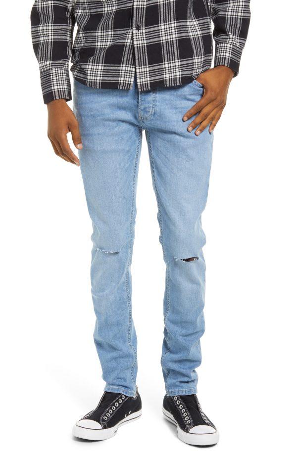 Men's Topman Knee Slash Skinny Jeans, Size 28 x 32 - Blue