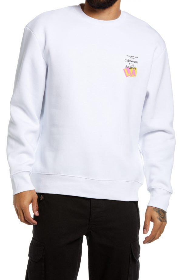Men's Topman L.a. Discovery Graphic Sweatshirt, Size Large - White