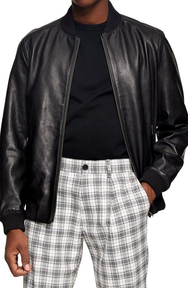 Men's Topman Leather Bomber Jacket, Size Large - Black
