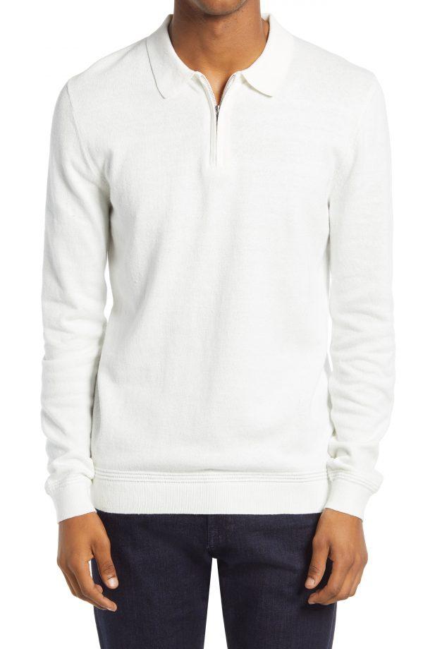 Men's Topman Long Sleeve Quarter Zip Polo, Size Large - White