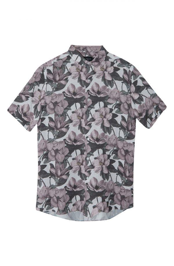 Men's Topman Magnolia Slim Fit Floral Short Sleeve Button-Up Shirt, Size X-Large - Grey