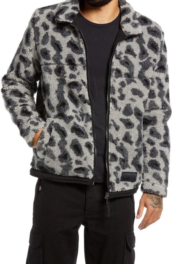 Men's Topman Men's Animal Print Faux Shearling Borg Jacket, Size Large - Grey