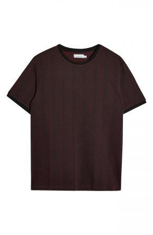 Men's Topman Men's Herringbone Ringer T-Shirt, Size Large - Burgundy