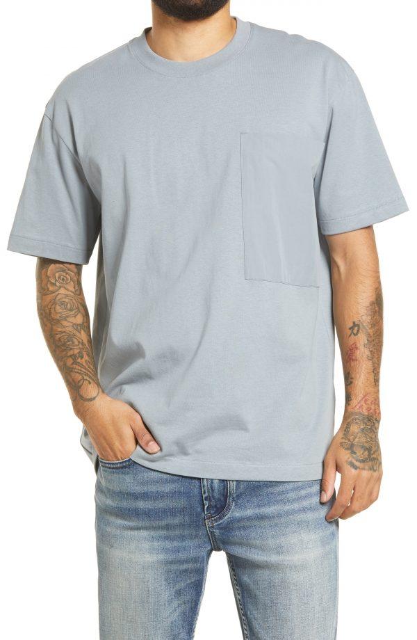 Men's Topman Men's Mixed Media Cotton Pocket T-Shirt, Size Large - Grey