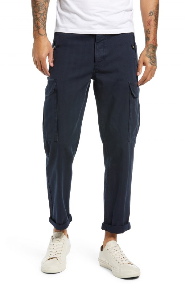 Men's Topman Men's Skinny Cotton Cargo Pants, Size 34 x 32 - Blue