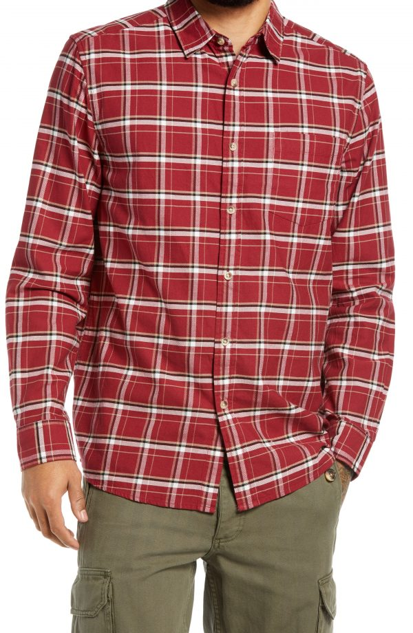 Men's Topman Men's Slim Fit Check Button-Up Shirt, Size Large - Red