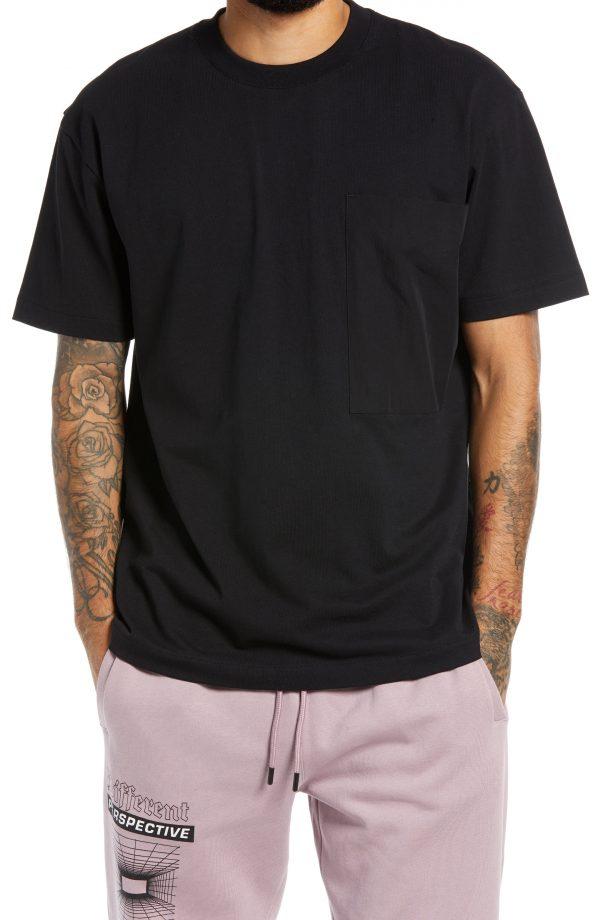 Men's Topman Men's Woven Pocket T-Shirt, Size Large - Black