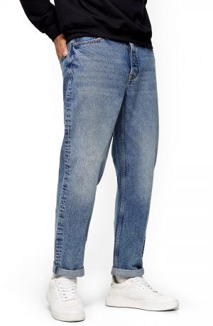 Men's Topman Mid Wash Relaxed Fit Straight Leg Jeans, Size 32 x 32 - Blue