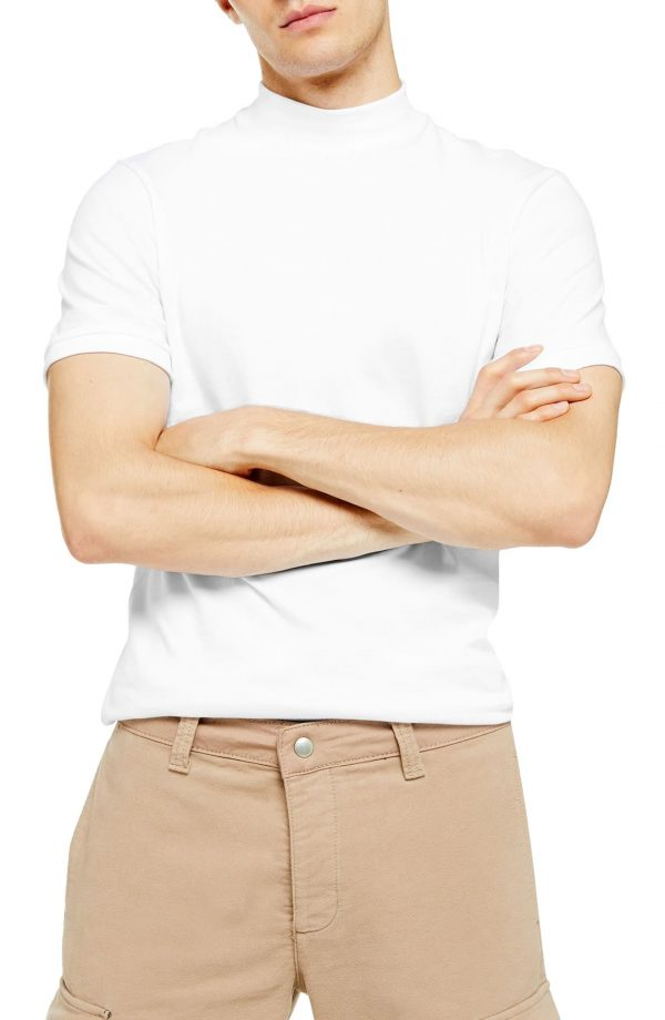Men's Topman Mock Neck T-Shirt, Size Small - White