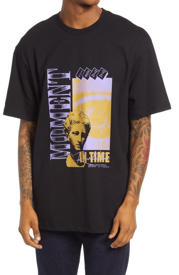 Men's Topman Moment Graphic Tee, Size Small - Black