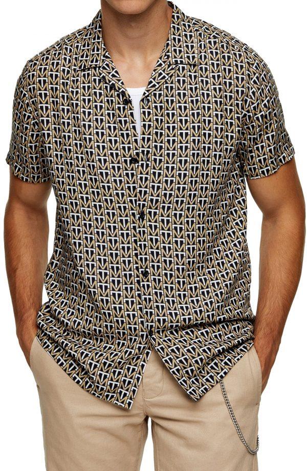 Men's Topman Monogram Print Button-Up Short Sleeve Camp Shirt, Size Medium - Yellow