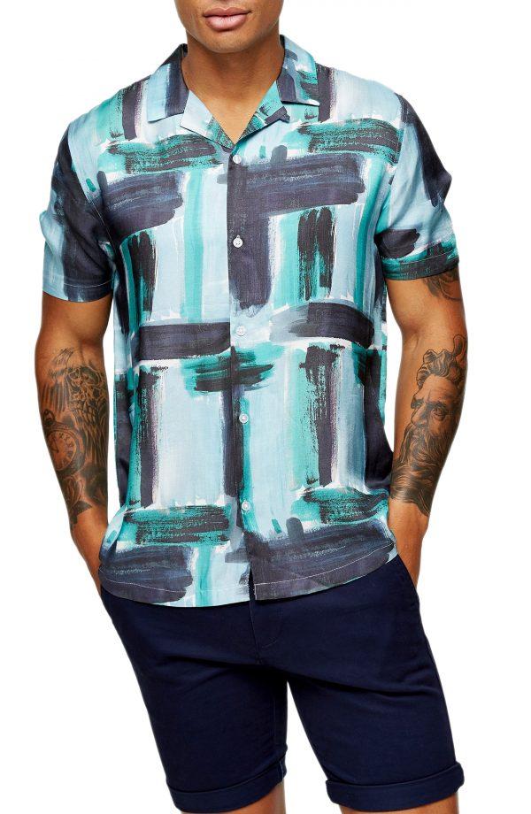 Men's Topman Paint Stroke Short Sleeve Button Up Shirt, Size Medium - Blue