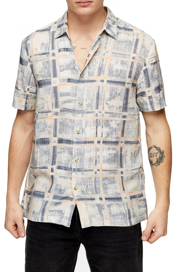 Men's Topman Painted Check Short Sleeve Button-Up Shirt, Size Large - Blue