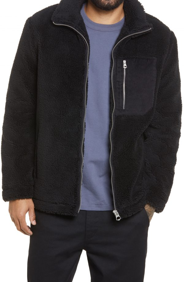 Men's Topman Palmer Faux Fur Jacket, Size Large - Black