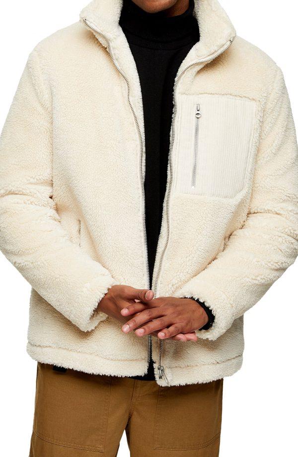 Men's Topman Palmer Faux Fur Jacket, Size Large - White