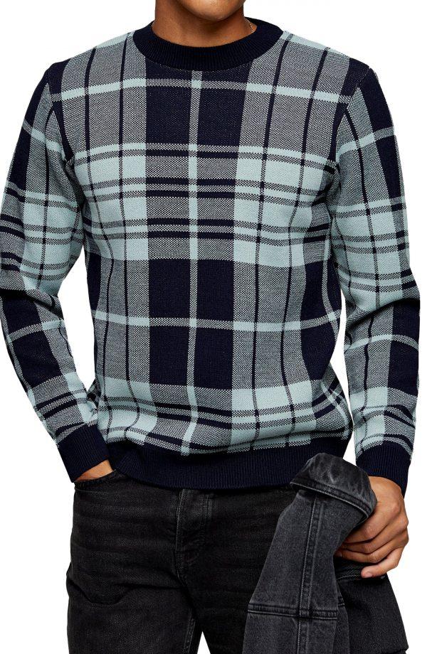 Men's Topman Plaid Crewneck Sweater, Size Large - Blue