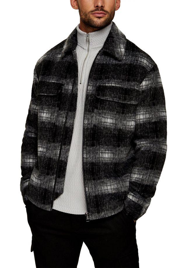 Men's Topman Plaid Shirt Jacket, Size Small - Black