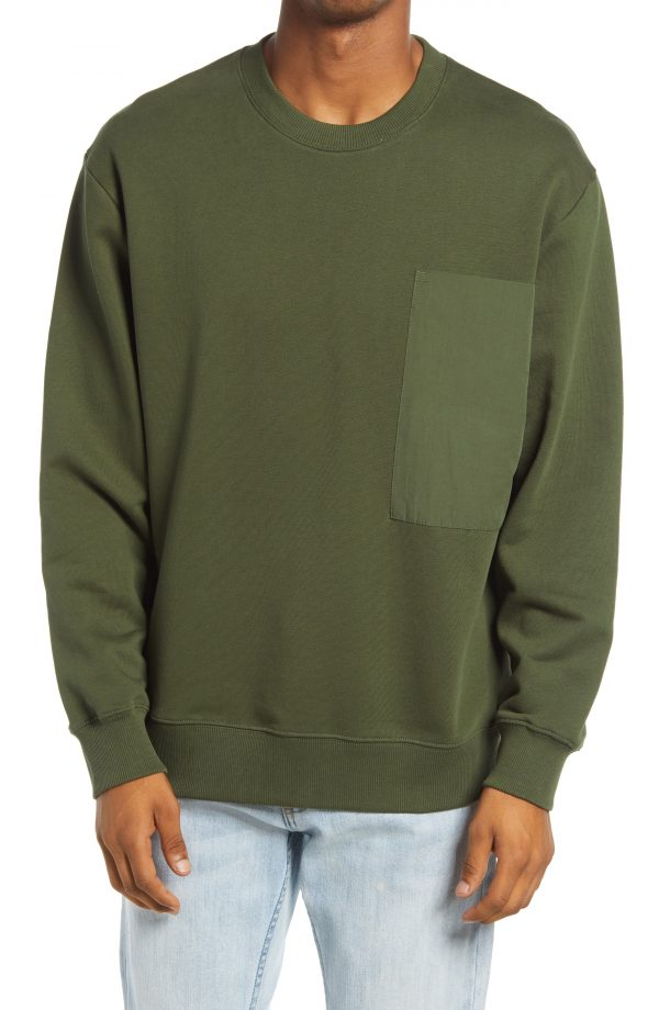 Men's Topman Pocket Sweatshirt, Size Large - Green