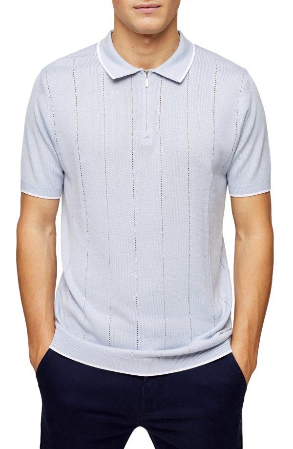 Men's Topman Pointelle Classic Zip Polo, Size Large - Blue