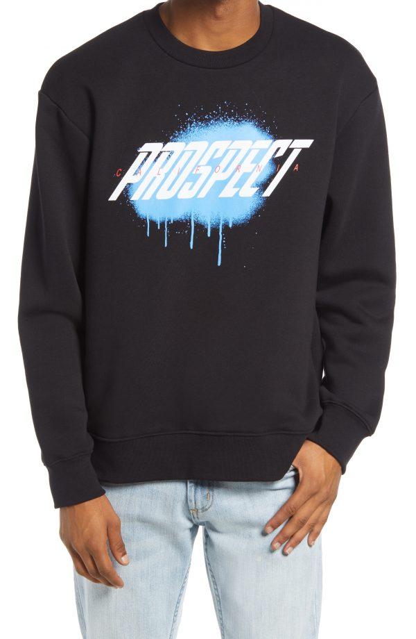 Men's Topman Prospect Print Sweatshirt, Size Large - Black