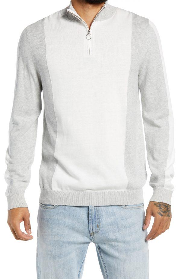 Men's Topman Quarter Zip Cotton Sweater, Size Medium - White