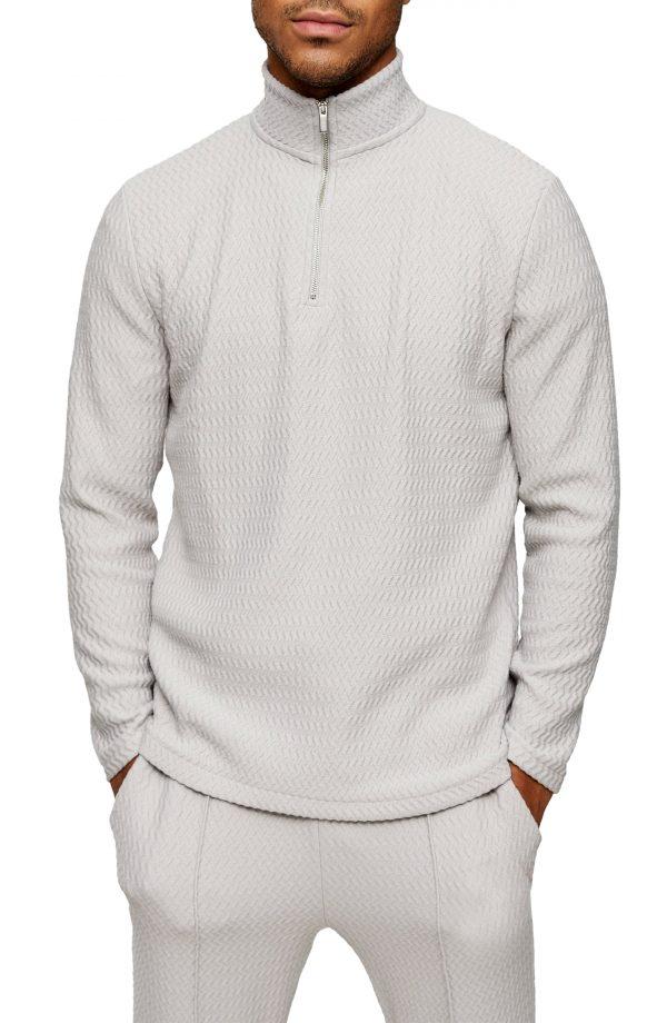 Men's Topman Quarter Zip Herringbone Pullover, Size Small - Grey