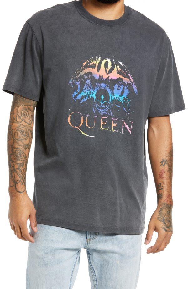 Men's Topman Queen Graphic Tee, Size Small - Black