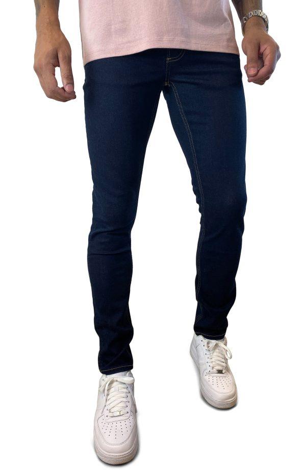 Men's Topman Raw Denim Stretch Skinny Jeans, Size 28 x 32 - Blue