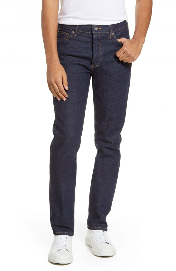 Men's Topman Raw Slim Fit Jeans, Size 28 x 32 - Blue