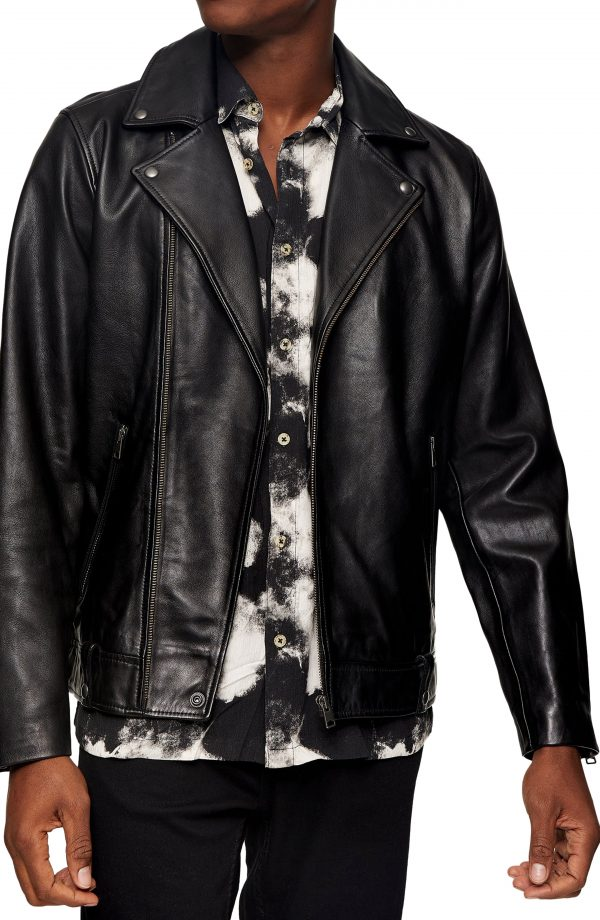 Men's Topman Ray Leather Biker Jacket, Size Large - Black