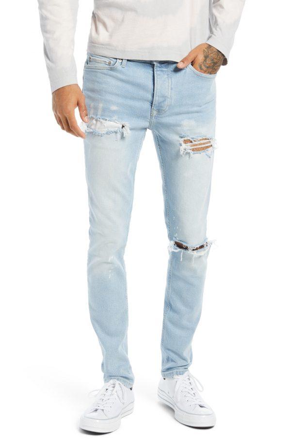 Men's Topman Rip Paint Jeans, Size 30 x 32 - Blue