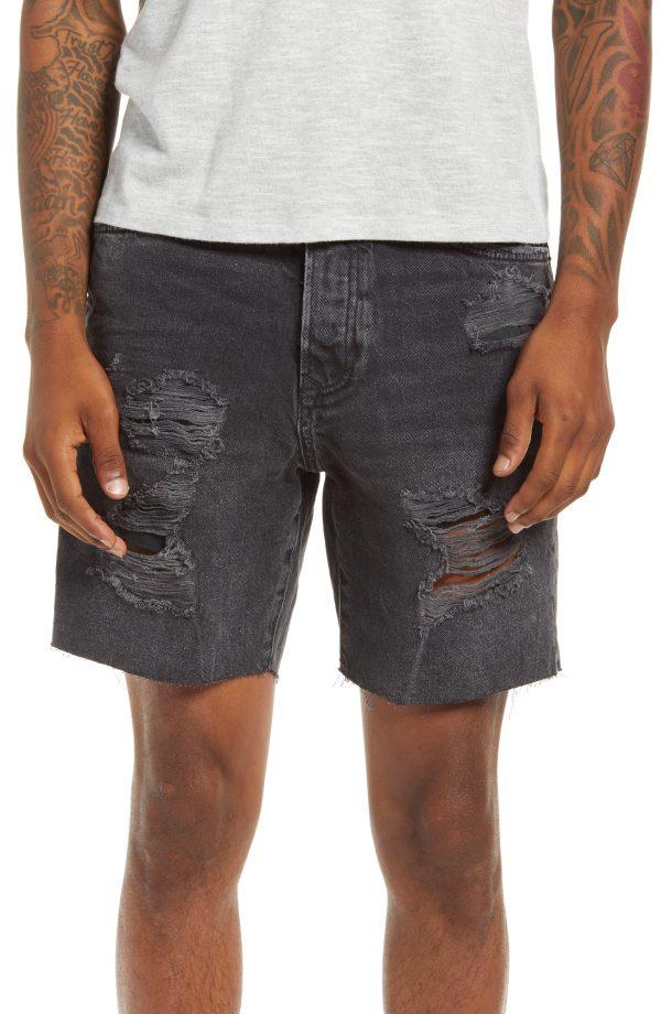 Men's Topman Ripped Denim Shorts, Size 34 - Black
