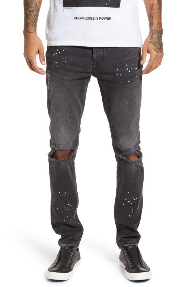 Men's Topman Ripped Skinny Fit Jeans, Size 30 x 32 - Black