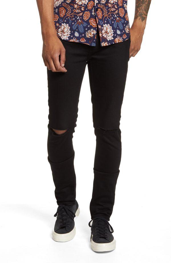 Men's Topman Ripped Skinny Jeans, Size 28 x 32 - Black