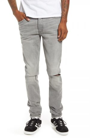 Men's Topman Ripped Skinny Jeans, Size 28 x 32 - Grey