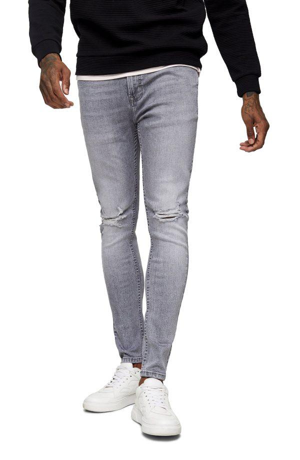 Men's Topman Ripped Spray-On Skinny Fit Jeans, Size 34 x 34 - Grey