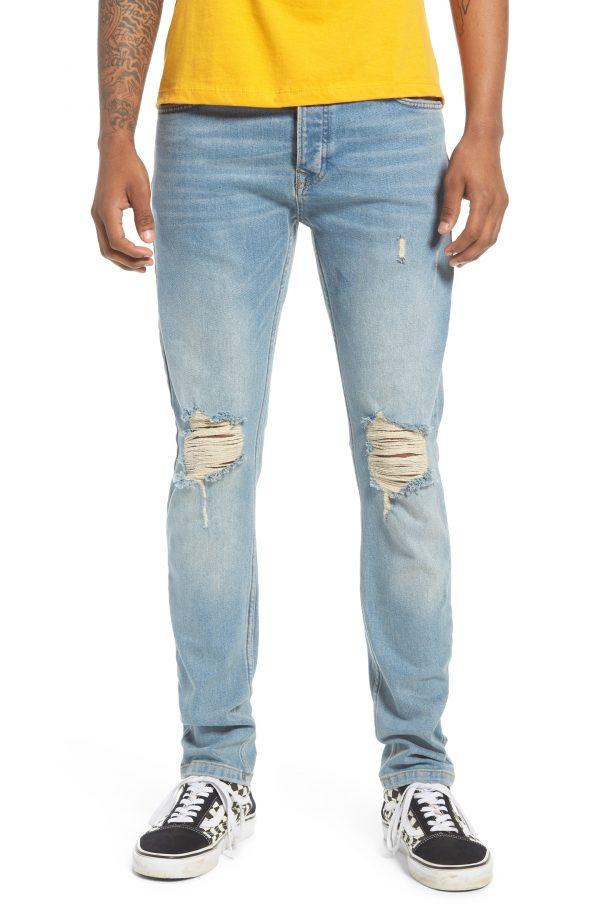 Men's Topman Ripped Stretch Skinny Fit Jeans, Size 32 x 32 - Blue