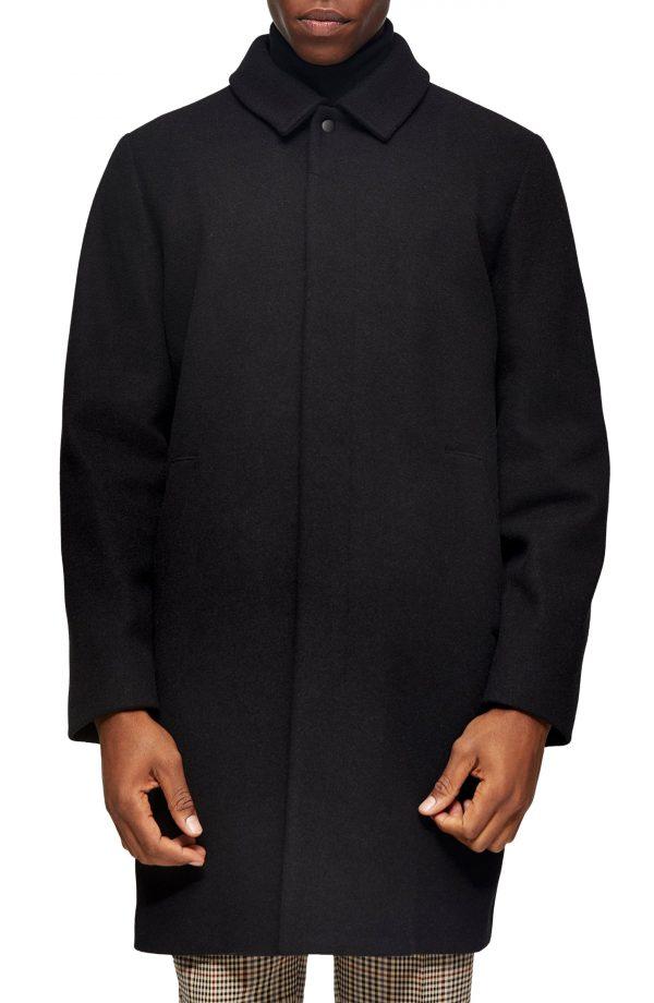 Men's Topman Ryan Classic Fit Overcoat, Size Large - Black