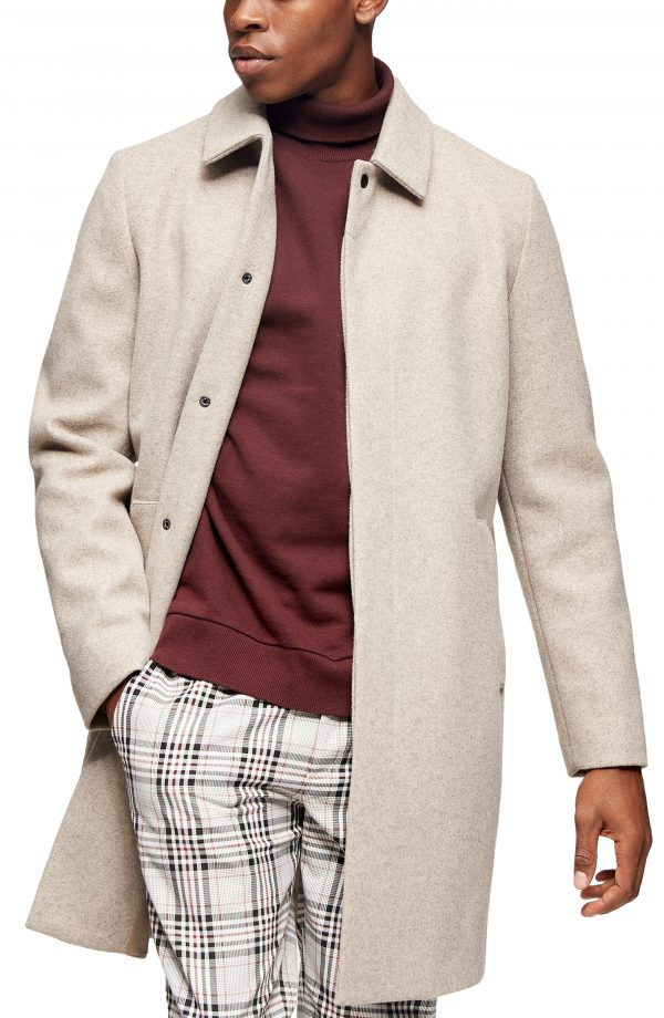 Men's Topman Ryan Classic Fit Overcoat, Size Large - Brown