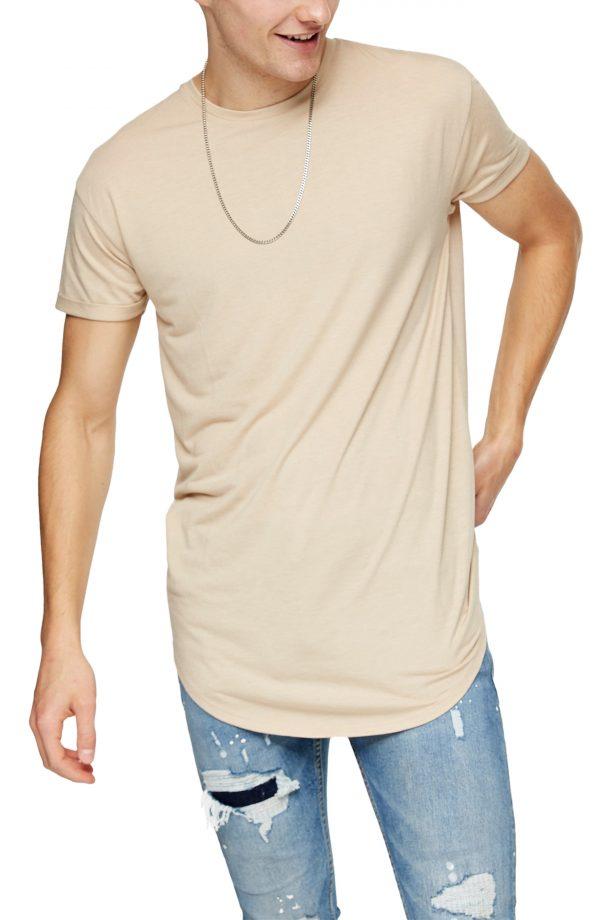 Men's Topman Scotty Longline Crewneck T-Shirt, Size Small - Beige