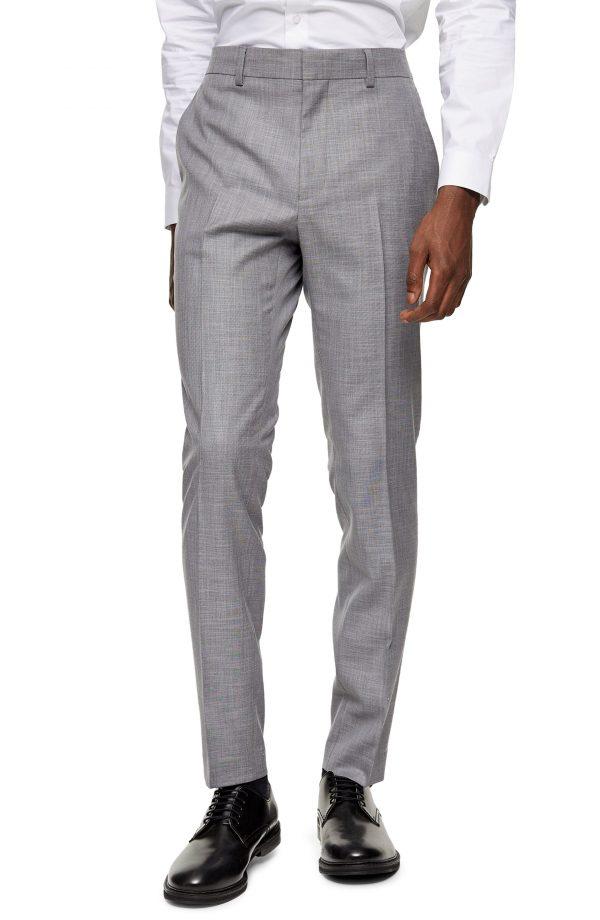 Men's Topman Shark Skinny Fit Trousers, Size 30 x 30 - Grey