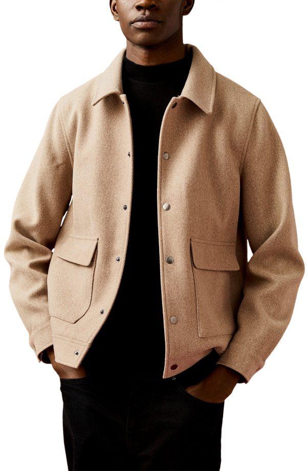 Men's Topman Shirt Jacket, Size XX-Large - Brown