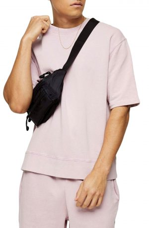 Men's Topman Short Sleeve French Terry Sweatshirt, Size X-Small - Purple