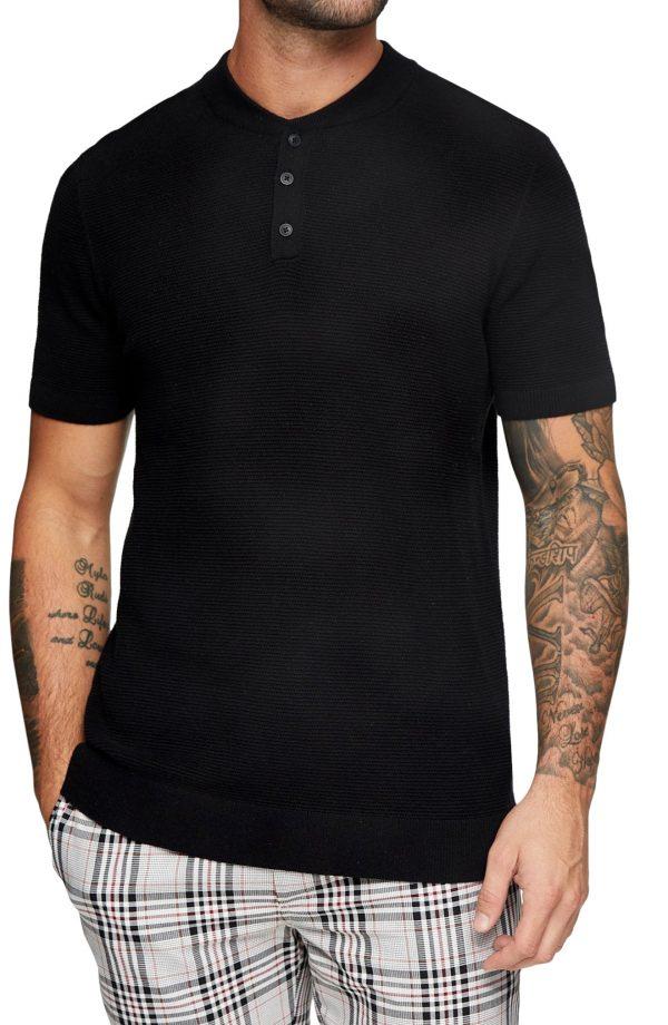 Men's Topman Short Sleeve Henley, Size Large - Black