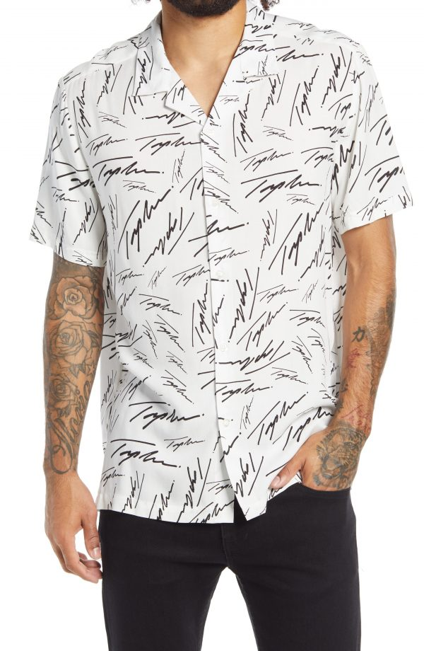 Men's Topman Signature Short Sleeve Button-Up Camp Shirt, Size Large - White