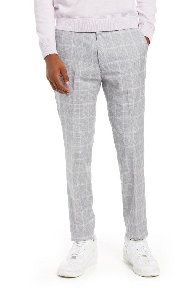 Men's Topman Skinny Fit Flat Front Check Men's Pants, Size 30 x 32 - Grey