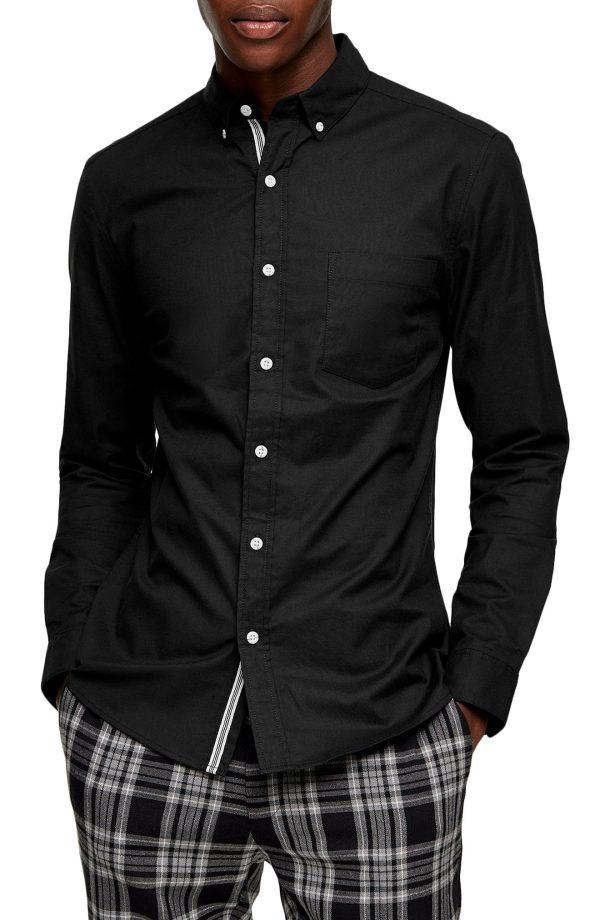 Men's Topman Skinny Fit Stretch Button-Down Oxford Shirt, Size Medium - Black