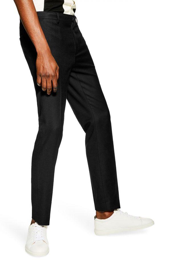 Men's Topman Skinny Fit Textured Pants, Size 36 x 32 - Black