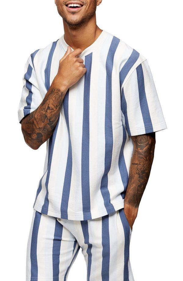 Men's Topman Skinny Stripe Sweatshirt, Size Large - White